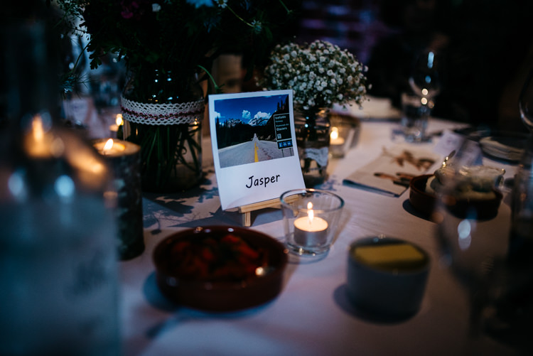 Polariod Table Name Red Rustic Spring Barn Wedding http://www.jennymacare.com/