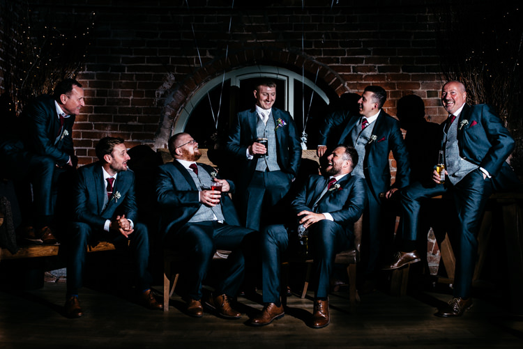 Groomsmen Navy Suits Grey Waistcoats Tan Shoes Groom Red Rustic Spring Barn Wedding http://www.jennymacare.com/