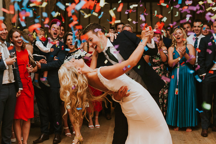 Confetti Cannon Bomb First Dance Rustic Greenery Dove Grey Country Barn Wedding http://jonnymp.com/