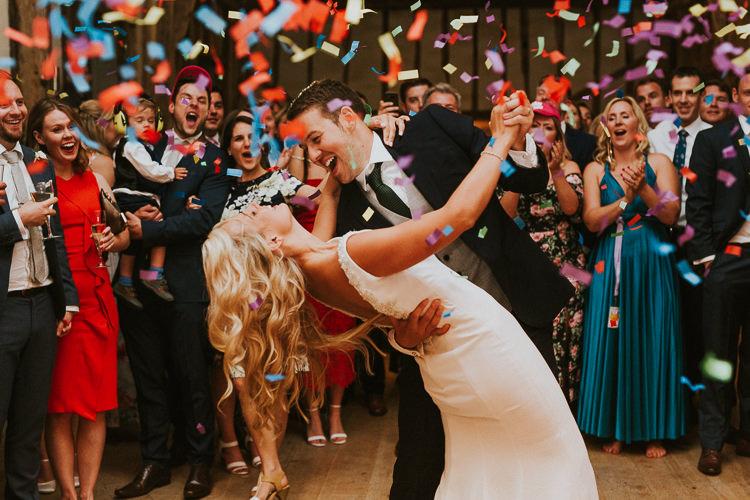 Confetti Cannon Bomb First Dance Rustic Greenery Dove Grey Country Barn Wedding http://jonnymp.com/