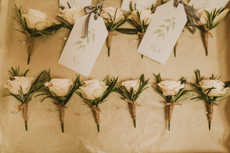 White Rose Buttonholes Rosemary Rustic Greenery Dove Grey Country Barn Wedding http://jonnymp.com/