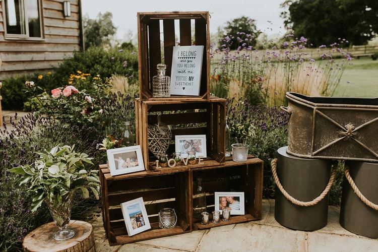 Crates Wooden Decor Rustic Greenery Dove Grey Country Barn Wedding http://jonnymp.com/