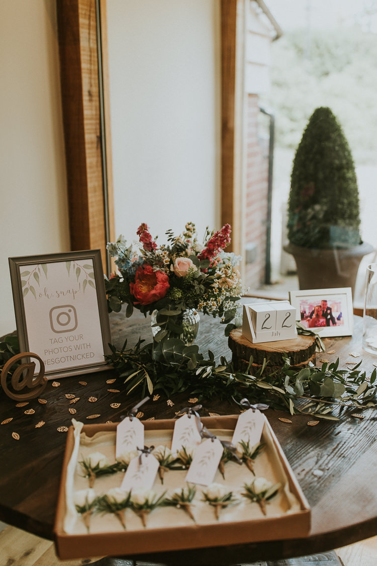 Flowers Buttonholes Instagram Sign Rustic Greenery Dove Grey Country Barn Wedding http://jonnymp.com/