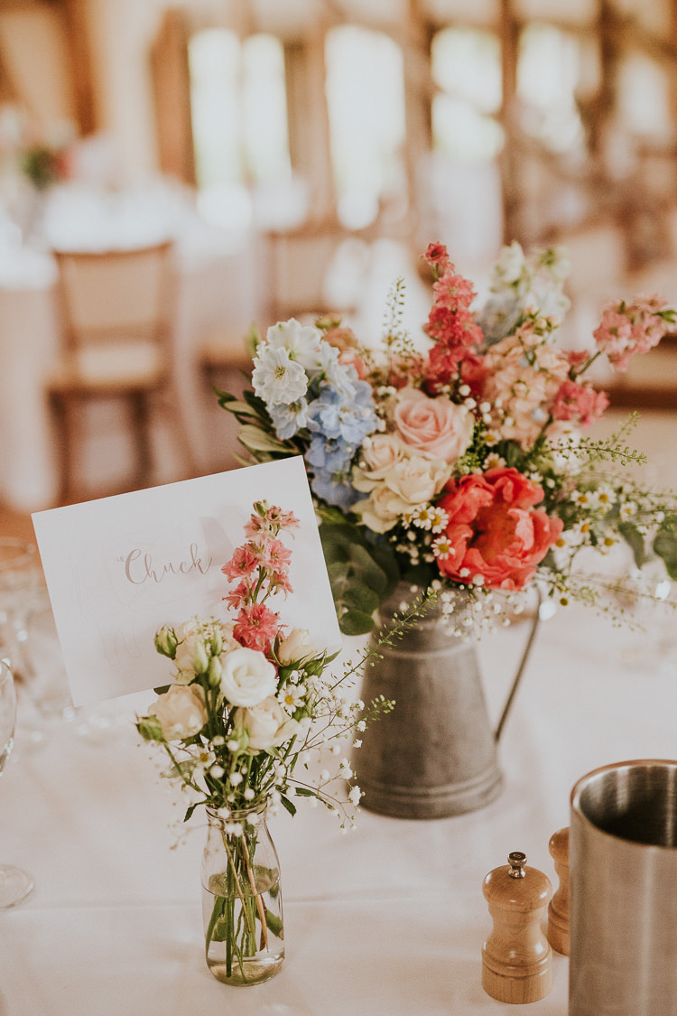 Jug Bottle Flowers Tables Centrepiece Pretty Natural Pink Blue Pastel Rustic Greenery Dove Grey Country Barn Wedding http://jonnymp.com/