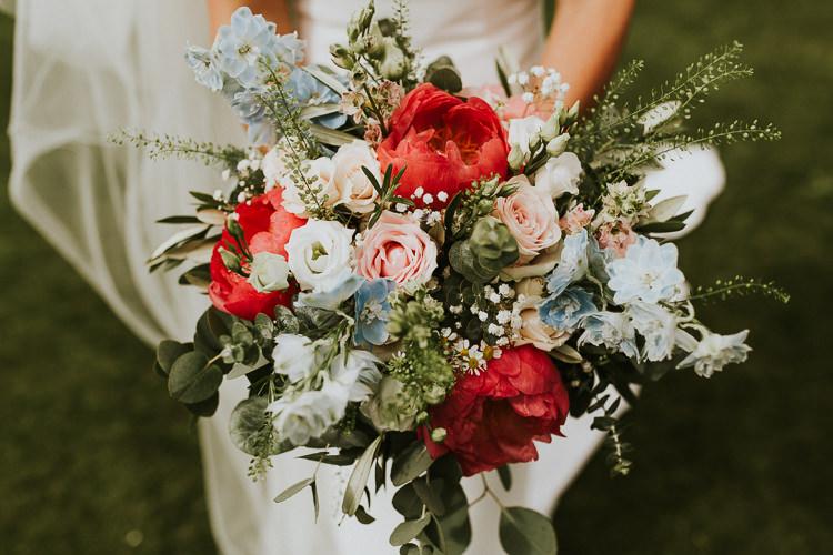 Flowers Bouquet Peony Risee Pretty Bride Bridal Pink Blue Rustic Greenery Dove Grey Country Barn Wedding http://jonnymp.com/