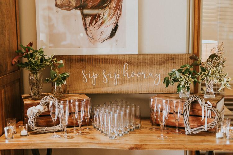 Sip Sip Hooray Drink Bar Rustic Greenery Dove Grey Country Barn Wedding http://jonnymp.com/
