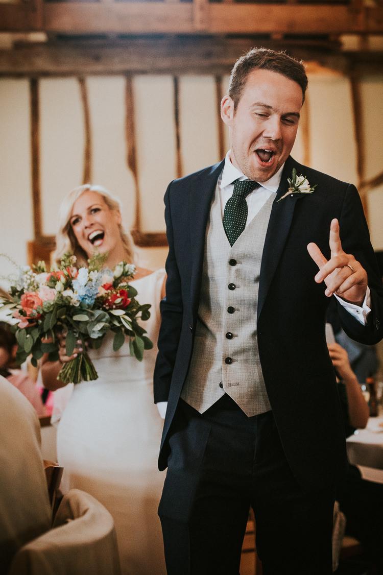 Groom Navy Blue Suit Grey Waistcoat Tie Rustic Greenery Dove Grey Country Barn Wedding http://jonnymp.com/