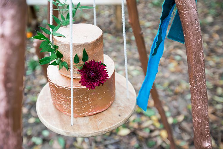 Hanging Copper Leaf Cake Metallic Buttercream 1970s Gypsy Bohemian Autumn Woodland Wedding Ideas http://carolineopacicphotography.com/