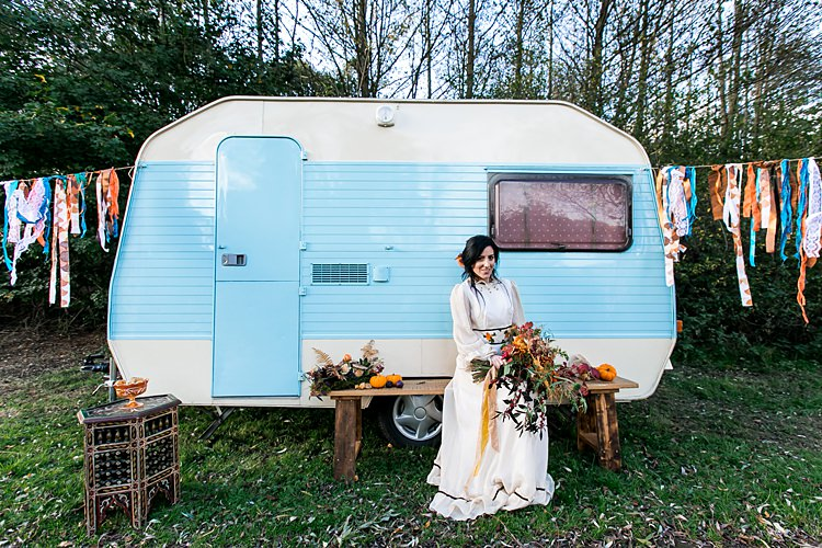 Vintage Caravan 1970s Gypsy Bohemian Autumn Woodland Wedding Ideas http://carolineopacicphotography.com/