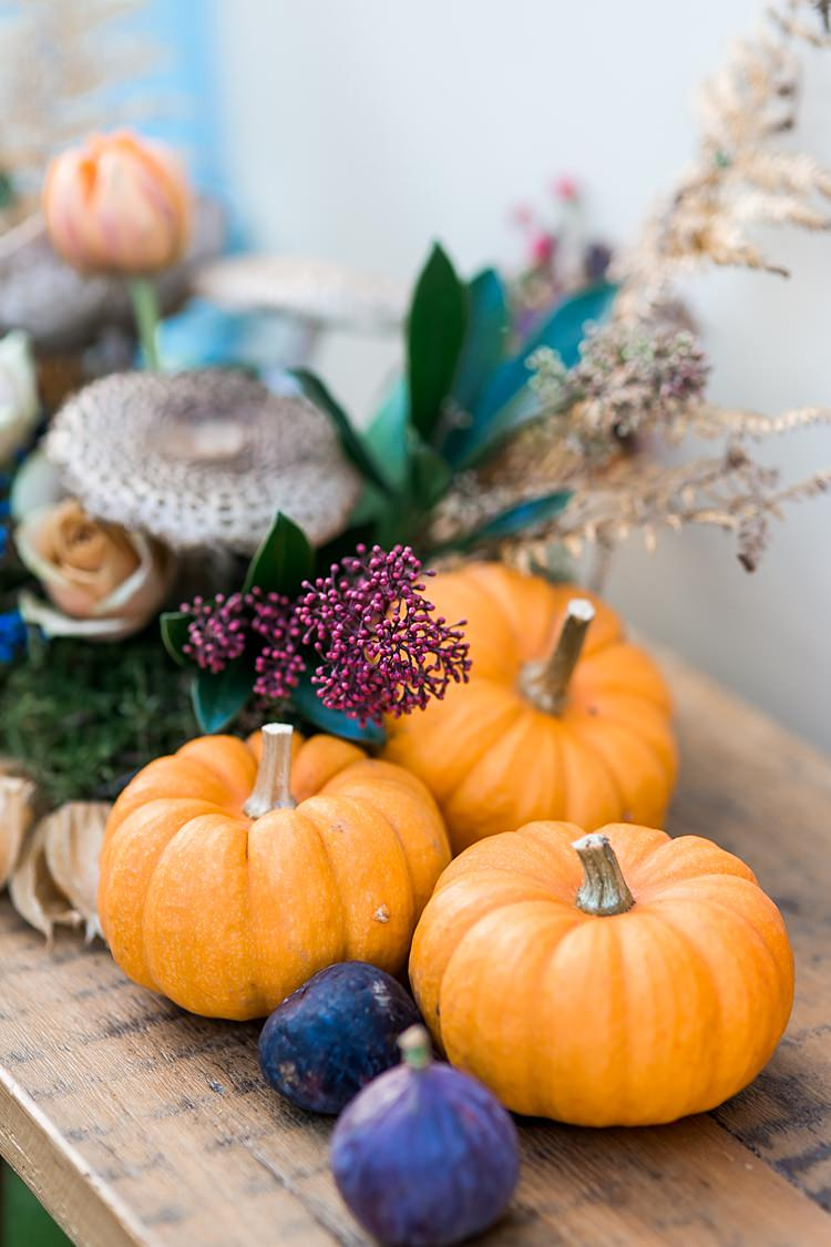 Pumpkins Flowers Figs Decor 1970s Gypsy Bohemian Autumn Woodland Wedding Ideas http://carolineopacicphotography.com/
