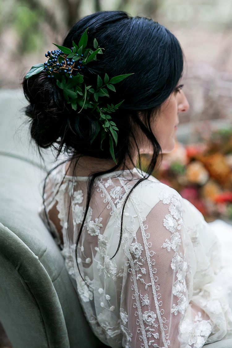 Hair Style Bride Bridal Up Do Flowers 1970s Gypsy Bohemian Autumn Woodland Wedding Ideas http://carolineopacicphotography.com/