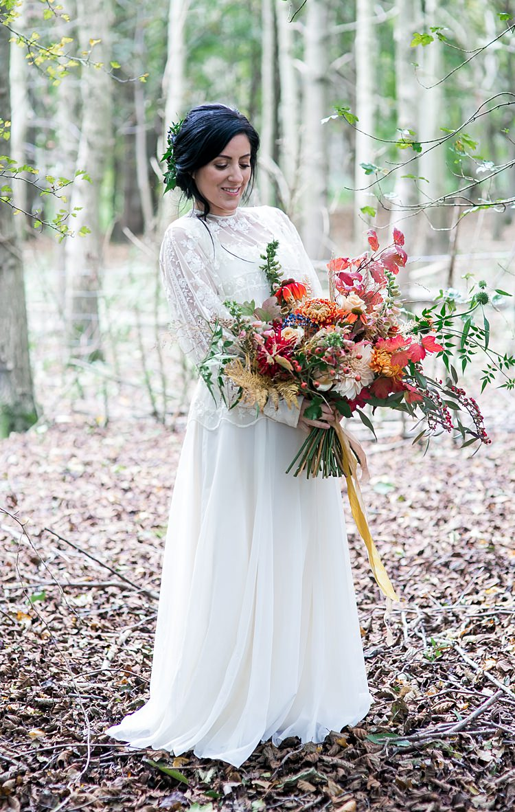 Bouquet Flowers Bride Bridal Dahlia Berrries Ferns Leaves Leaf Orange Red Ribbons 1970s Gypsy Bohemian Autumn Woodland Wedding Ideas http://carolineopacicphotography.com/