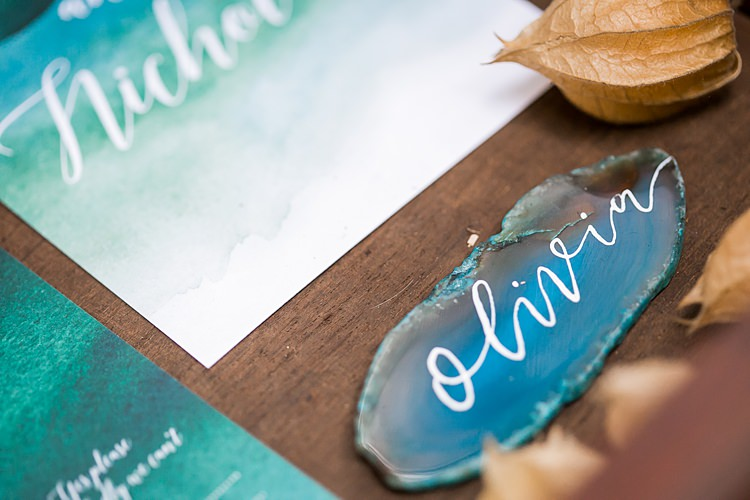 Stationery Blue Teal Watercolour Place Name Setting Calligraphy Geode 1970s Gypsy Bohemian Autumn Woodland Wedding Ideas http://carolineopacicphotography.com/
