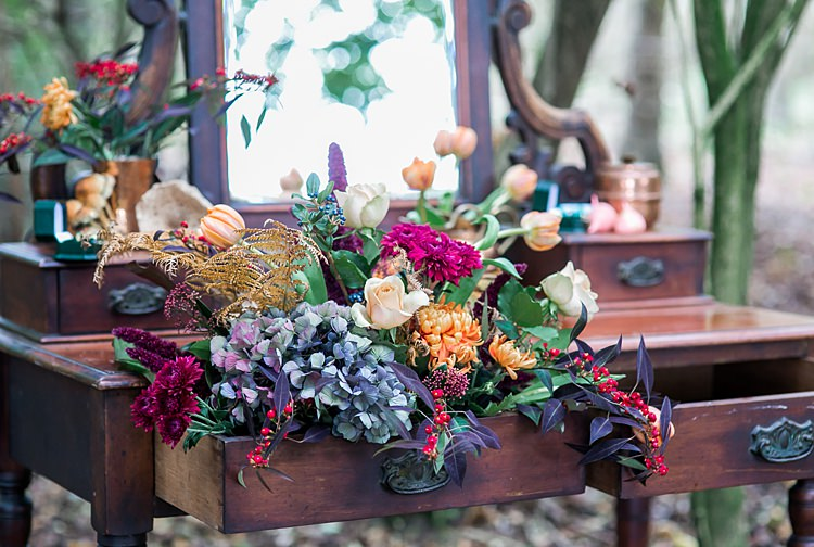Furniture Dressing Table Flowers Decor Decoration Set Up 1970s Gypsy Bohemian Autumn Woodland Wedding Ideas http://carolineopacicphotography.com/
