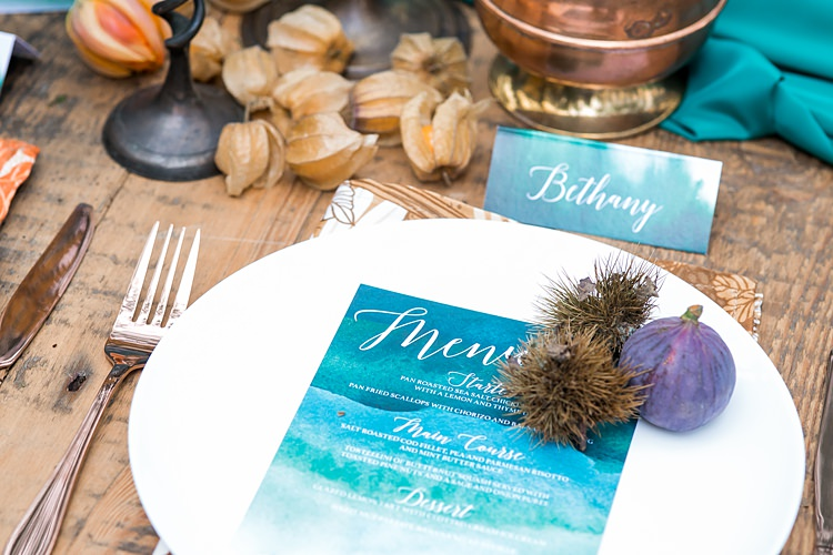 Tablescape Decor Place Setting Teal Orange Copper Table Decoration 1970s Gypsy Bohemian Autumn Woodland Wedding Ideas http://carolineopacicphotography.com/