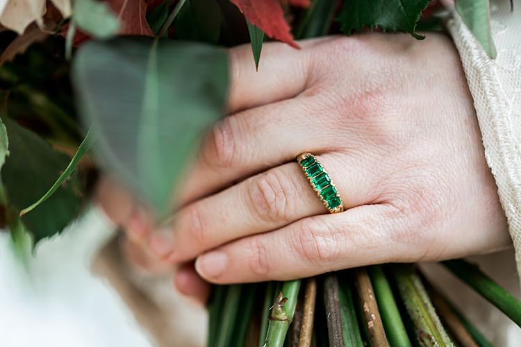 Emerald Ring Engagement Band 1970s Gypsy Bohemian Autumn Woodland Wedding Ideas http://carolineopacicphotography.com/