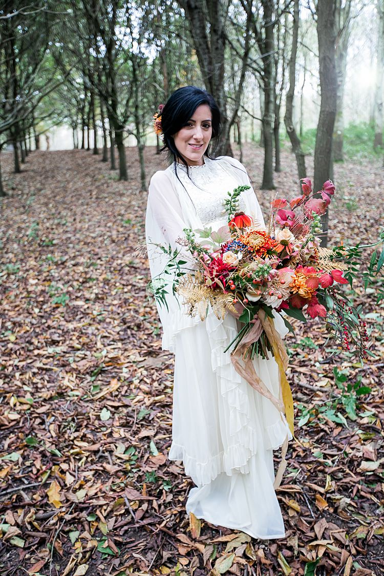 Lace Dress Gown Sleeves Vintage Bride Bridal 1970s Gypsy Bohemian Autumn Woodland Wedding Ideas http://carolineopacicphotography.com/