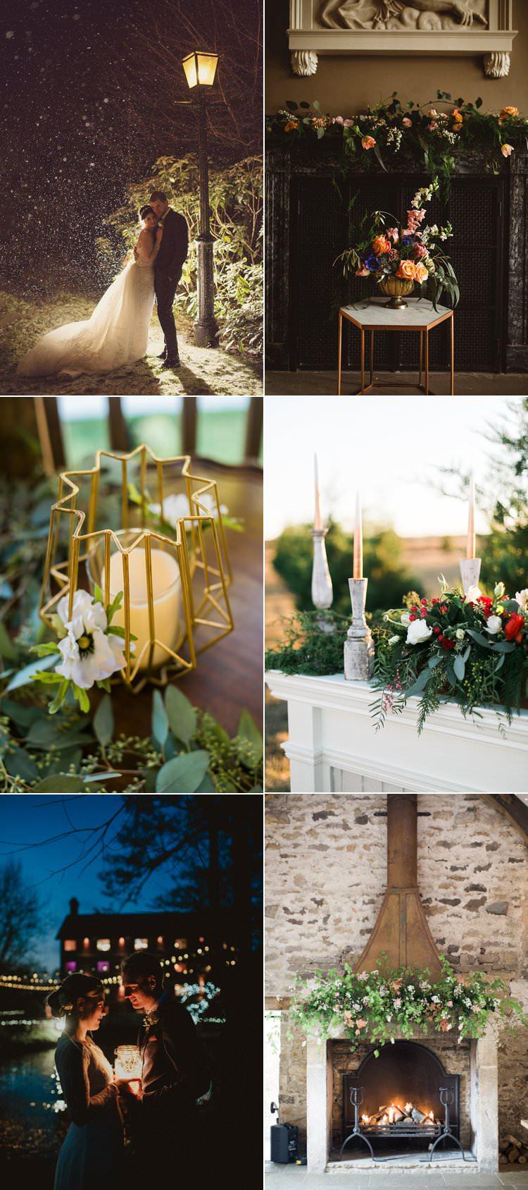 Christmas Winter Wedding Ideas Snow Fireplace Decor