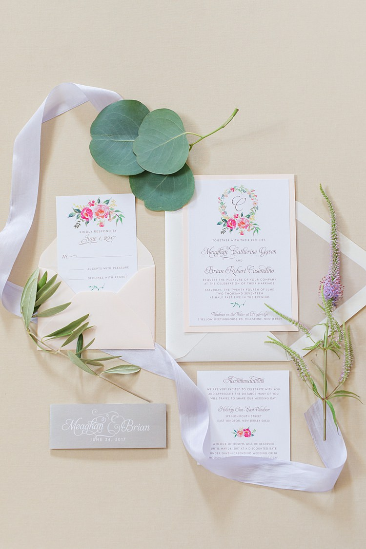 Stationery Floral Invites Bright Coral Garden Wedding New Jersey http://somethingbluenj.com/