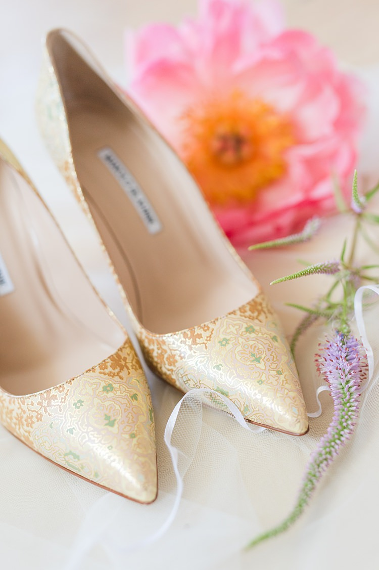 Bride Shoes Pointed Toe Gold Green Bright Coral Garden Wedding New Jersey http://somethingbluenj.com/