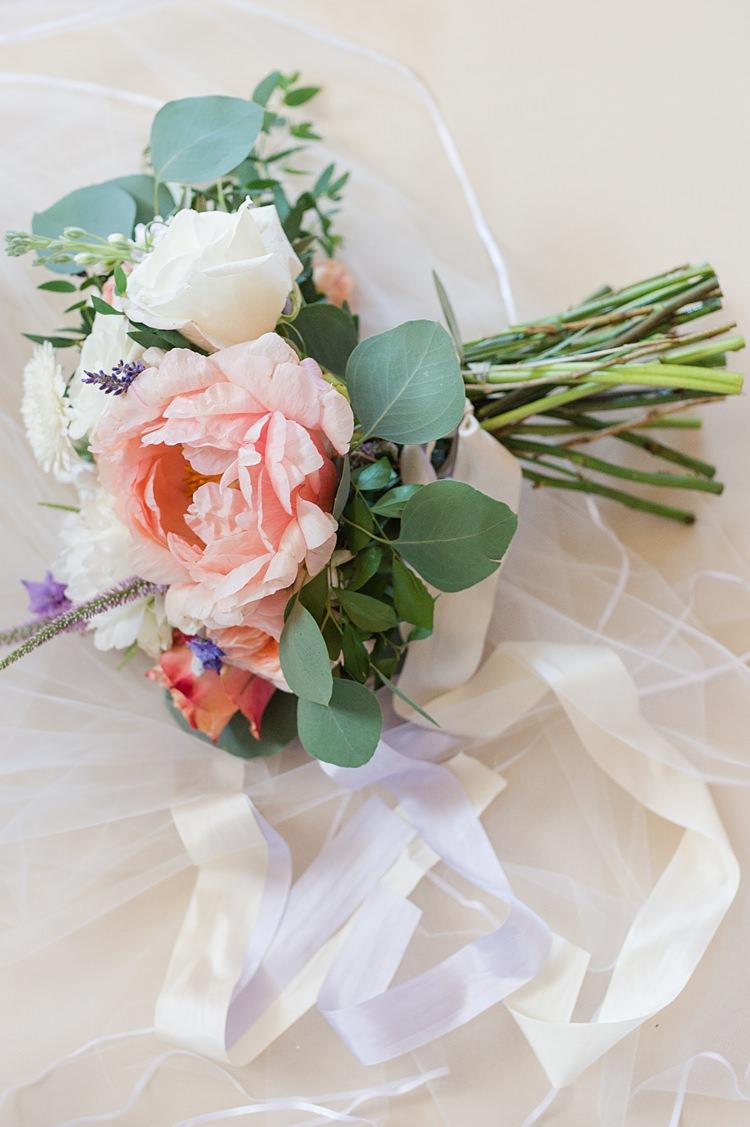 Bouquet Pastel Bright Coral Garden Wedding New Jersey http://somethingbluenj.com/