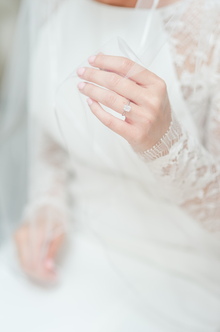 Engagement Ring Lace Sleeves Gown Bright Coral Garden Wedding New Jersey http://somethingbluenj.com/