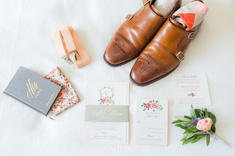 Floral Stationery Pastel Braces Groom Shoes Buttonhole Bright Coral Garden Wedding New Jersey http://somethingbluenj.com/