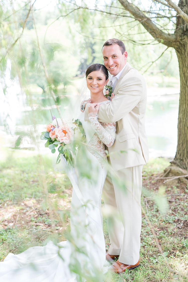 Bride Lace Gown Groom Cream Suit Pastel Bouquet Bright Coral Garden Wedding New Jersey http://somethingbluenj.com/