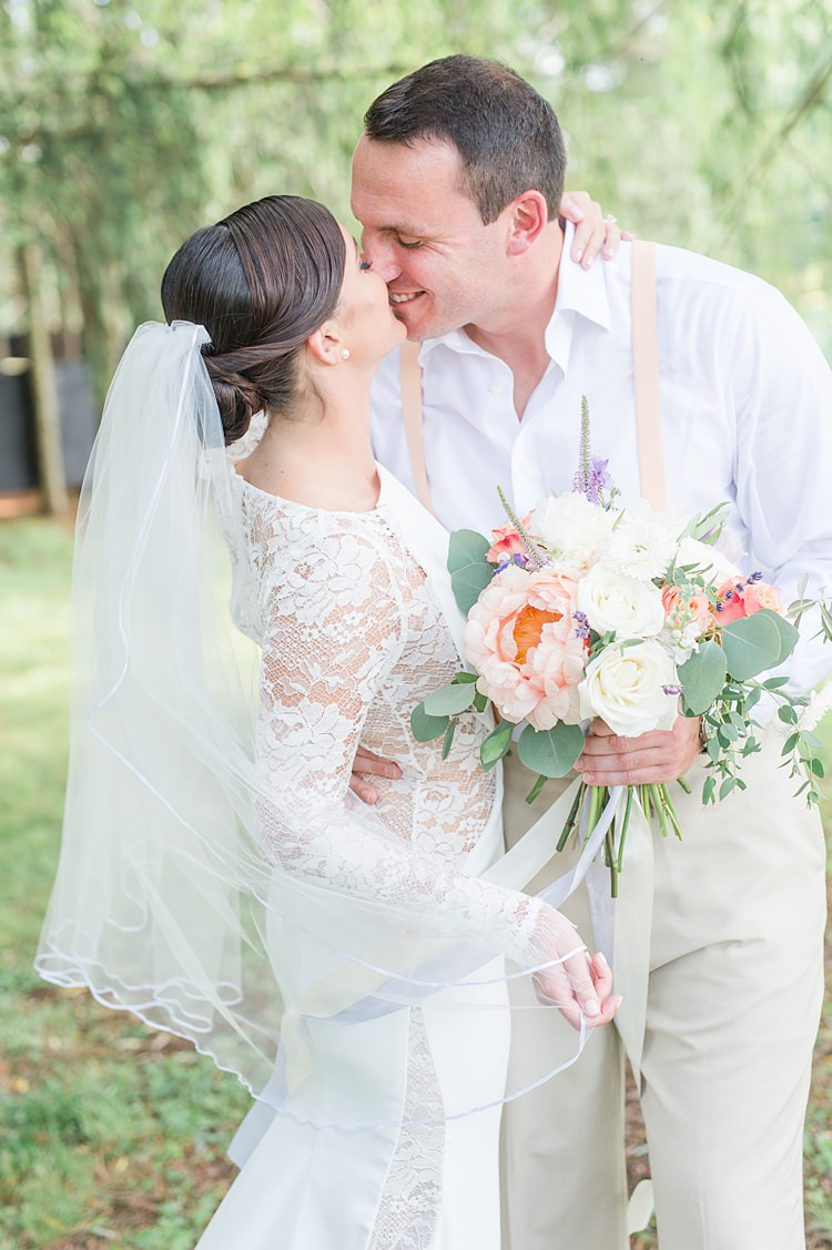 Sheer Lace Gown Clip Veil Up Do Braces Pastel Bright Coral Garden Wedding New Jersey http://somethingbluenj.com/