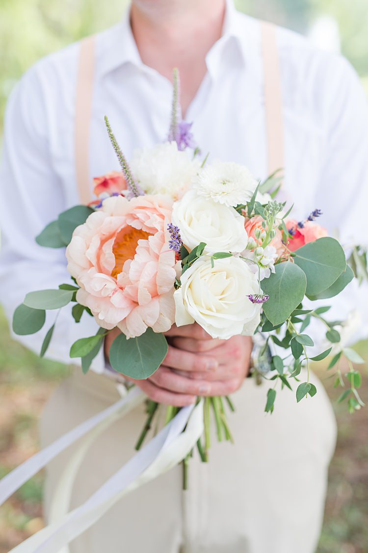 Groom Braces Pastel Bouquet Bright Coral Garden Wedding New Jersey http://somethingbluenj.com/