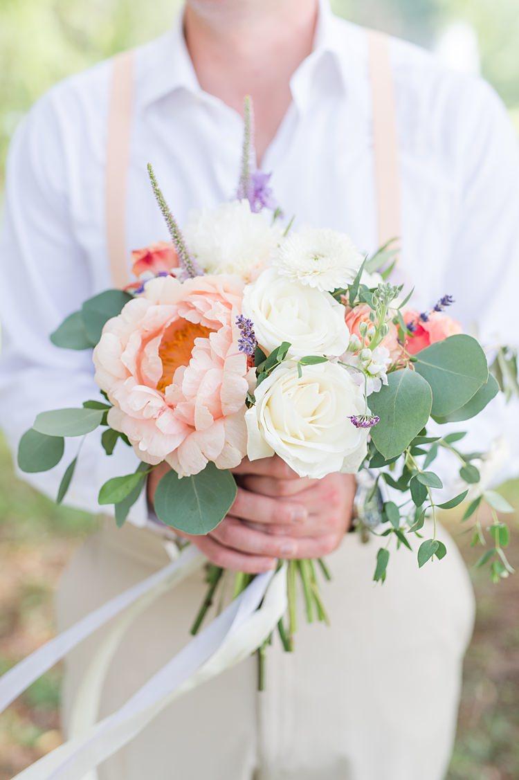Groom Braces Pastel Bouquet Bright Coral Garden Wedding New Jersey http://somethingbluenj.com/