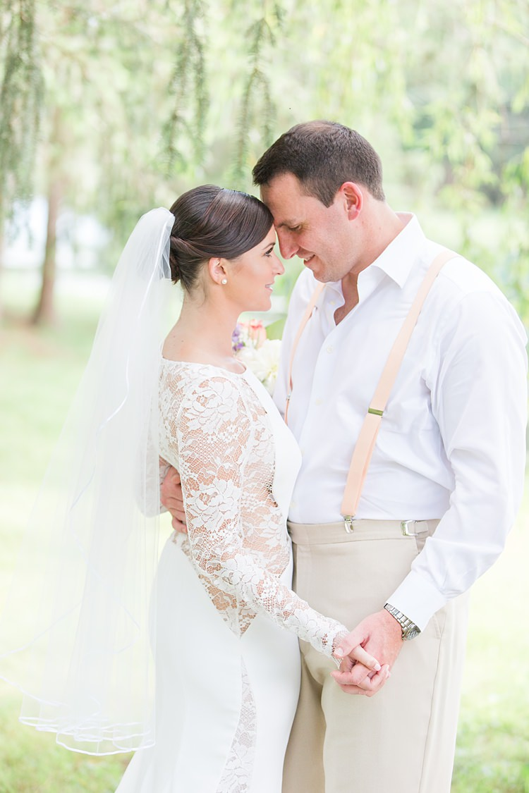 Bride Lace Gown Sheer Long Sleeve Groom Cream Suit Pastel Bouquet Bright Coral Garden Wedding New Jersey http://somethingbluenj.com/