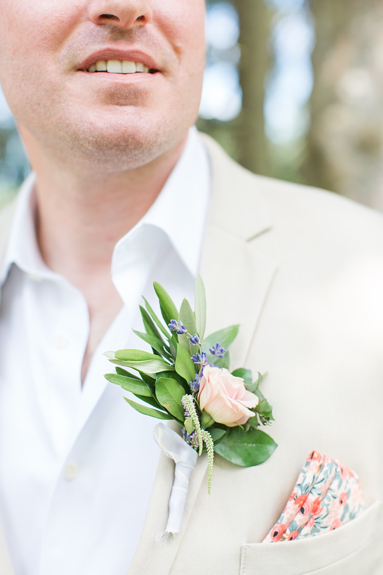 Groom Button Hole Rose Floral Pocket Square Bright Coral Garden Wedding New Jersey http://somethingbluenj.com/