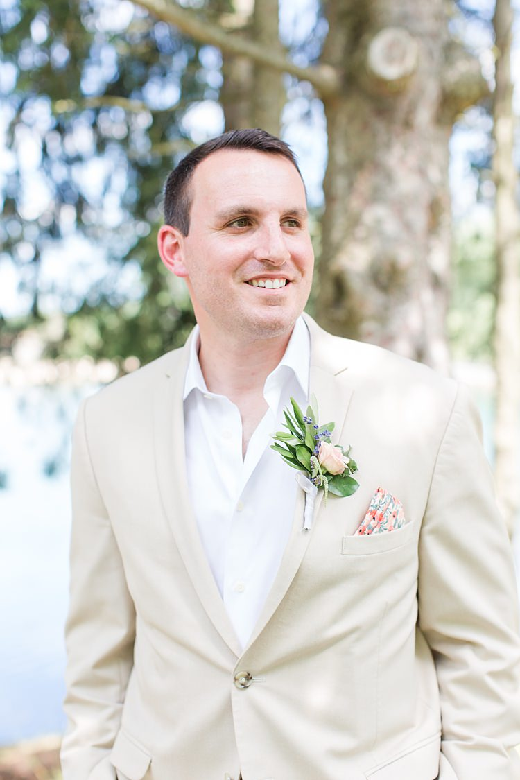 Groom Cream Suit Floral Pocketsquare Bright Coral Garden Wedding New Jersey http://somethingbluenj.com/