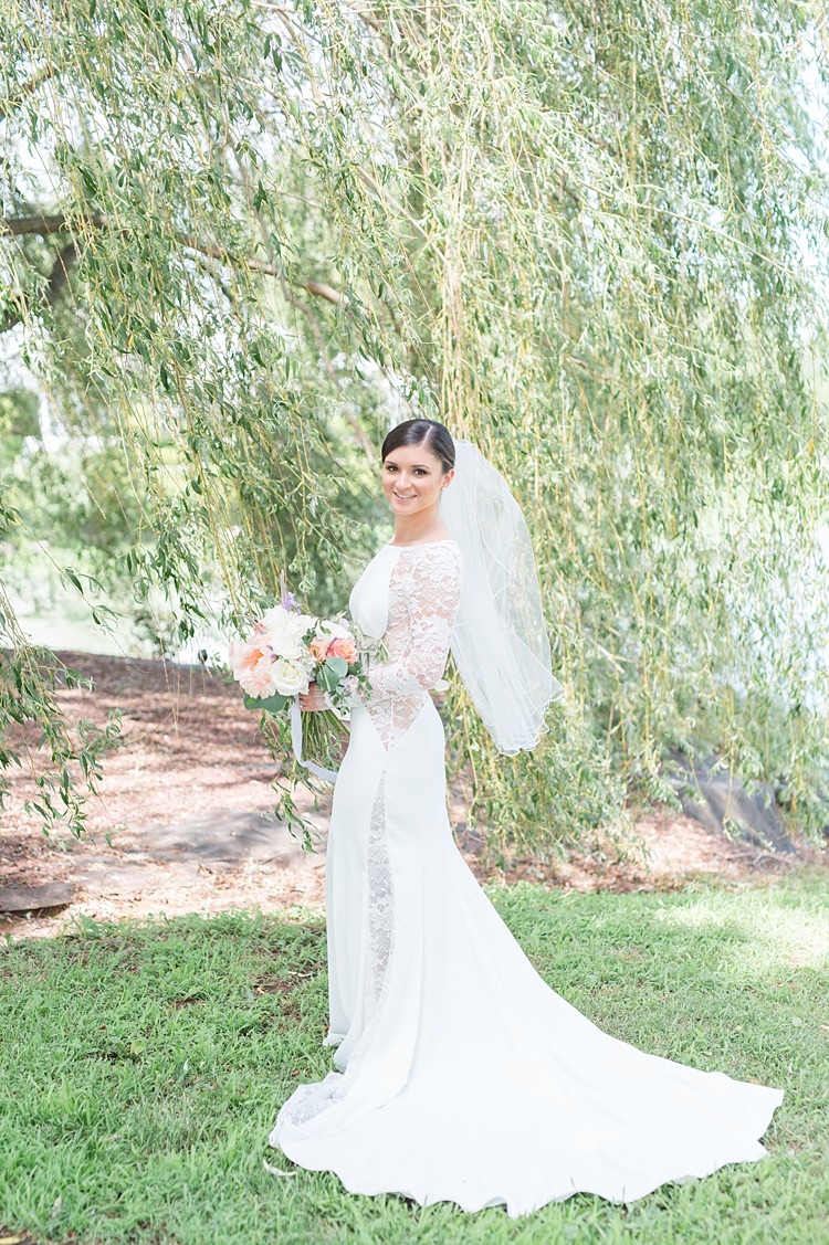 Bride Lace Gown Sheer Long Sleeve Pastel Bouquet Bright Coral Garden Wedding New Jersey http://somethingbluenj.com/
