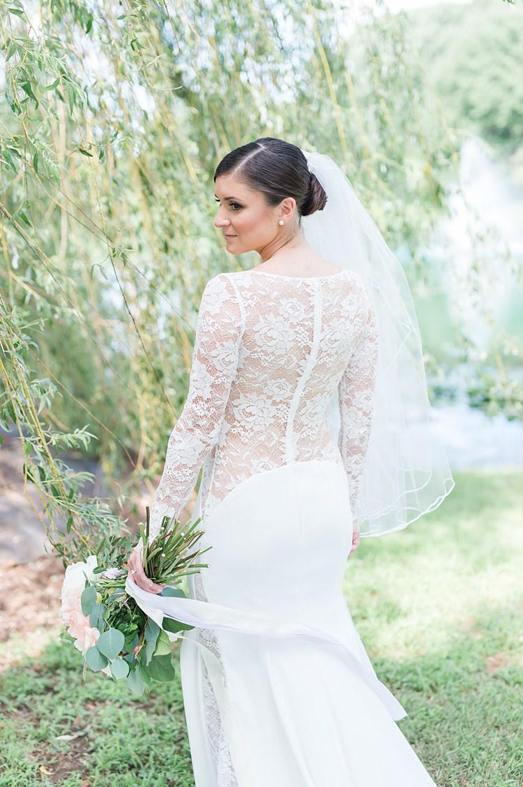 Sheer Lace Gown Drop Waist Clip Veil Up Do Bright Coral Garden Wedding New Jersey http://somethingbluenj.com/