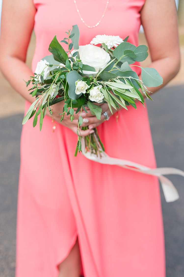 Bridesmaid Gown Greenery Roses Bouquet Bright Coral Garden Wedding New Jersey http://somethingbluenj.com/