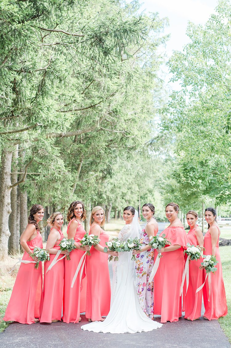 Bridesmaids Mismatched Style Floral Bright Coral Garden Wedding New Jersey http://somethingbluenj.com/