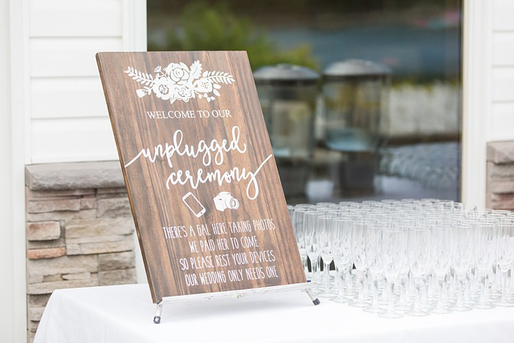 Unplugged Ceremony Sign Bright Coral Garden Wedding New Jersey http://somethingbluenj.com/