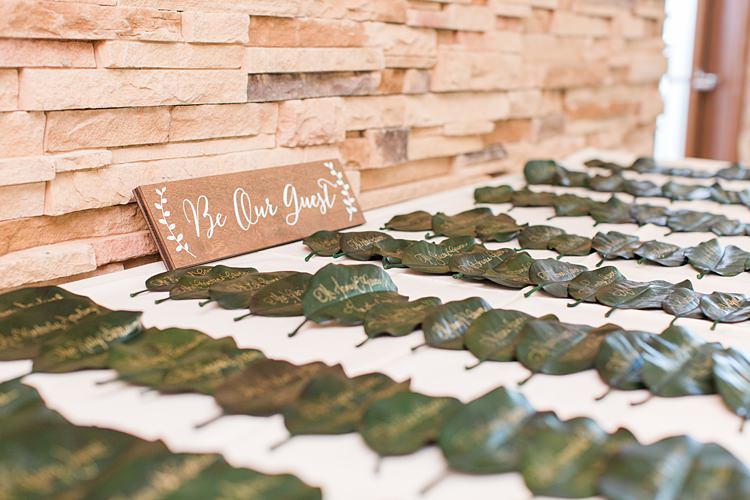 Calling Cards Leaves Gold Table Plan Bright Coral Garden Wedding New Jersey http://somethingbluenj.com/
