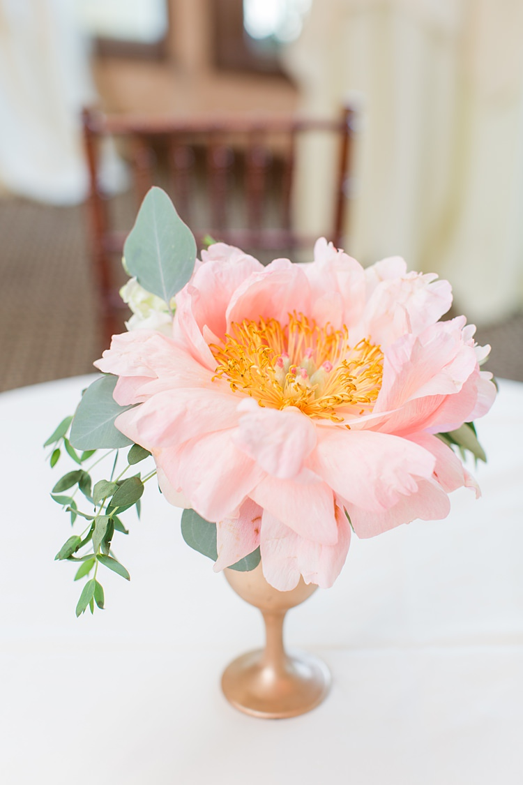 Table Decor Flower Centrepiece Bright Coral Garden Wedding New Jersey http://somethingbluenj.com/