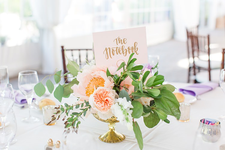 Table Names Books Nicholas Sparks Centrepiece Floral Bright Coral Garden Wedding New Jersey http://somethingbluenj.com/