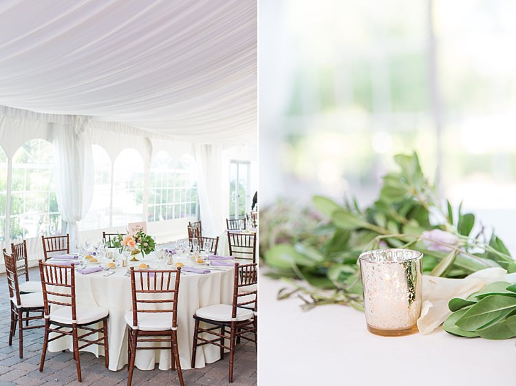 Tables Chairs Decor Centrepieces Floral Candles Greenery Bright Coral Garden Wedding New Jersey http://somethingbluenj.com/