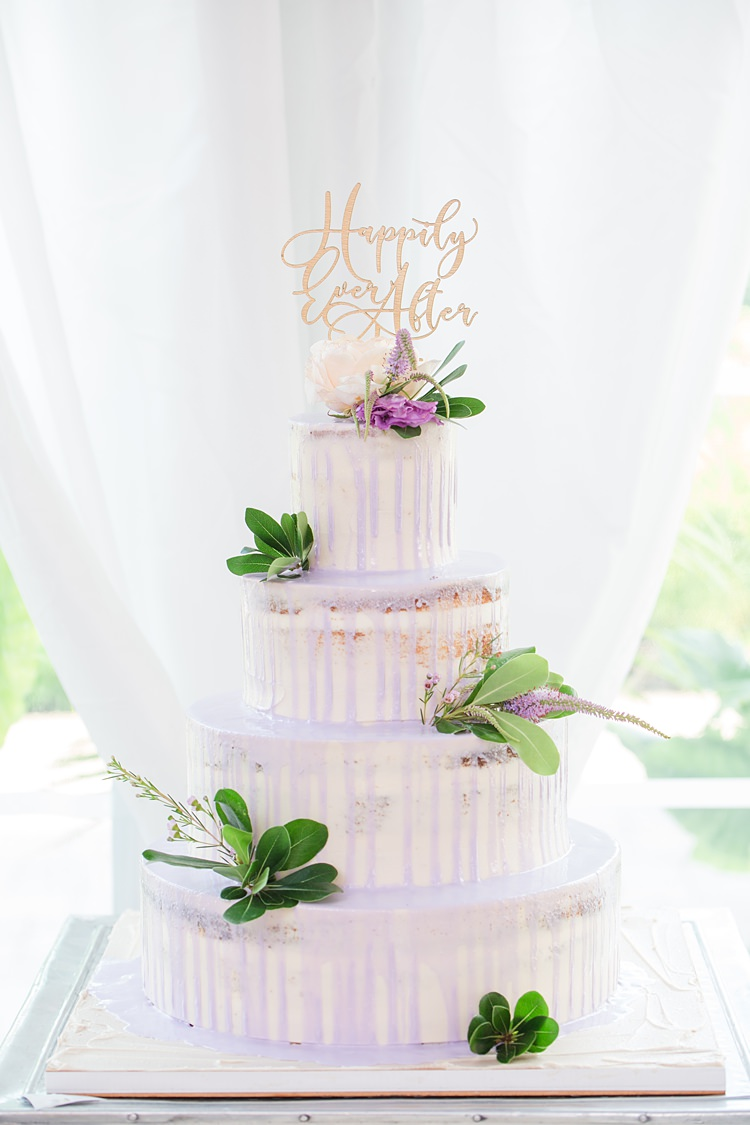 Naked Drip Cake Purple Gold Happily Ever After Topper Bright Coral Garden Wedding New Jersey http://somethingbluenj.com/