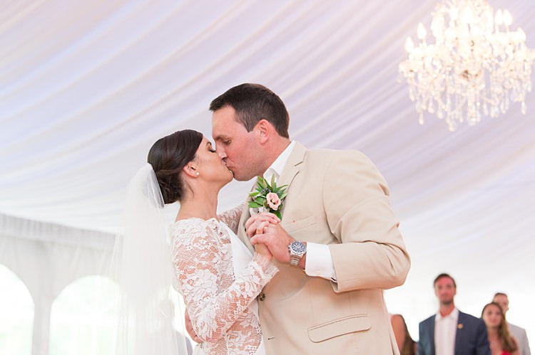 Bride Groom First Dance Long Sleeve Lace Gown Cream Suit Bright Coral Garden Wedding New Jersey http://somethingbluenj.com/