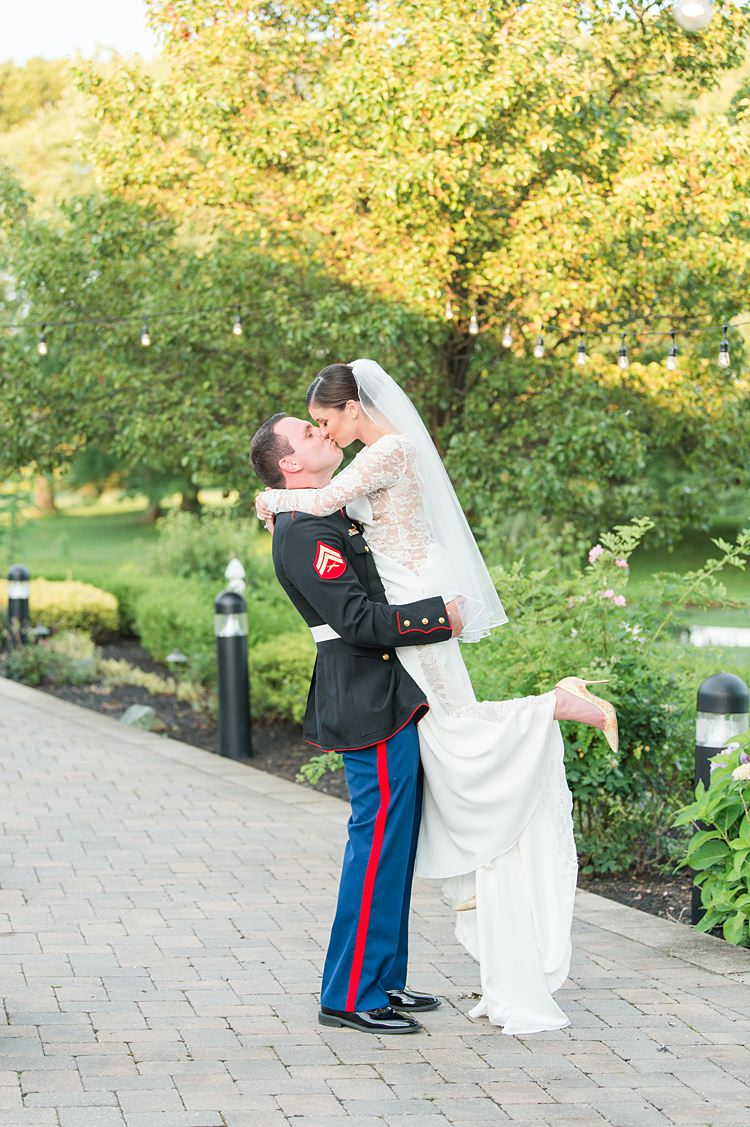 Groom Military Bride Lace Gown Sheer Long Sleeve Lift Bright Coral Garden Wedding New Jersey http://somethingbluenj.com/
