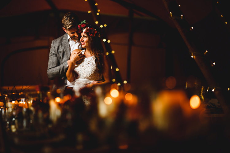 Fairy Lights Candles Decor Cosy Autumn Woodland Tipi Wedding Ideas http://hbaphotography.com/