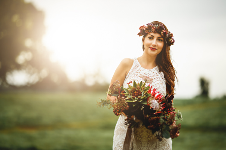 Crochet Lace Bohemian Dress Bride Bridal Dress Gown Flowers Crown Bouquet Red Style Cosy Autumn Woodland Tipi Wedding Ideas http://hbaphotography.com/