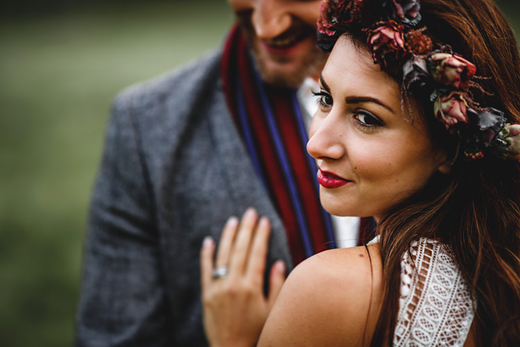 Flower Crown Bride Bridal Eustoma Mimosa Red Make Up Beauty Cosy Autumn Woodland Tipi Wedding Ideas http://hbaphotography.com/