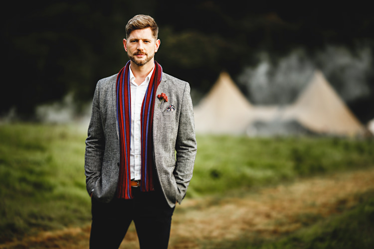Groom Scarf Grey Wool Suit Style Outfit Cosy Autumn Woodland Tipi Wedding Ideas http://hbaphotography.com/